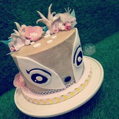 Deer smash cake for a woodland 1st birthday photoshoot, in the unicorn style