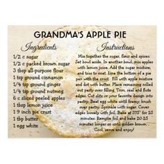 Shop Grandma's Apple Pie Day Recipe Card created by TimefortheHolidays. Personalize it with photos & text or purchase as is! Apple Pie Recipes, Old Recipes, Vintage Recipes, Cookie Recipes, Dessert Recipes, Apple Pies, Recipies, Apple Desserts, Pie Dessert