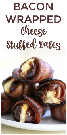 Bacon Wrapped Cheese Stuffed Dates are the most delicious small bites. They're the perfect real food snack to enjoy with someone you love.   Recipes to Nourish