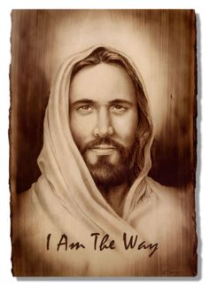 Jesus, I Am The Way, Wood Burning by Dennis Franzen