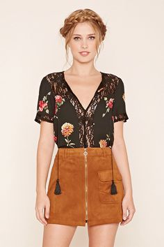 Forever 21 Contemporary - A woven top featuring a keyhole cutout neckline with self-tie thread tassels, a sheer floral lace front panel, sheer floral lace yoke, short sleeves with lace trim, and a floral print.