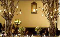 green and white with birch tree wedding decorations - Google Search