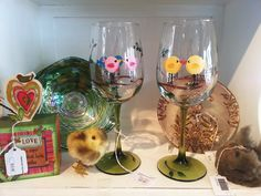 Hand Painted Wine Glasses- Andrea Johns- Chickies