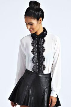 Talia Georgette Sequin Collar & Lace Trim Shirt