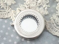 1 Glass ShadowBox Pendant Large Round Silver Filigree by BuyDiy