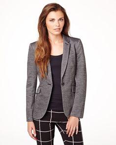 Two-tone knit blazer with plaid pants