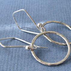 Hammered Sterling Silver Earrings Handmade by RockisArtisanMetal, $33.00