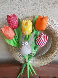 tulips and owl Handmade Flowers, Flower Crafts, Fabric Flowers, Ribbon, Felt, Stitch, Sewing, Tulips, Diy
