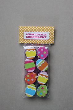 cute Easter treat--Rolos + egg stickers + free printable bag topper!