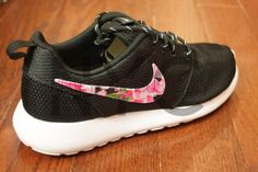 best authentic 19040 9e6c4 Nike Roshe Run Black White Azalea Floral Print V3 by NYCustoms Nike Roshe  Run Black,