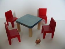44 Bodo Hennig 4x Stühle und Tisch 1:10 Puppenhaus Puppenstube Puppenstubenmöbel