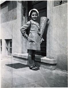 Anne Frank on her first day at school in Frankfurt, 1932