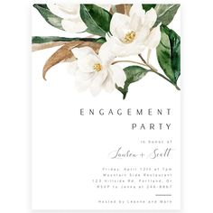 Magnolia Engagement Party Invitation | Forever Your Prints