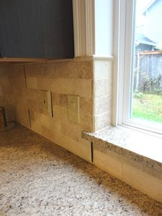 Granite window sill Valerie's Kitchen, Living Room Kitchen, Kitchen Flooring, Kitchen Backsplash, Kitchen Design, Kitchen Cabinets, Living Room Remodel, Kitchen Remodel, Kitchen Upgrades
