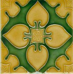 Art Tile, Art Nouveau Design, Gold on Green