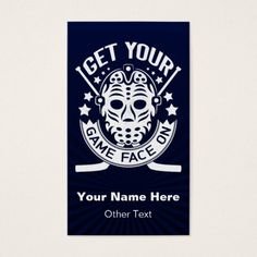 Get Your Game Face On Hockey Business Cards