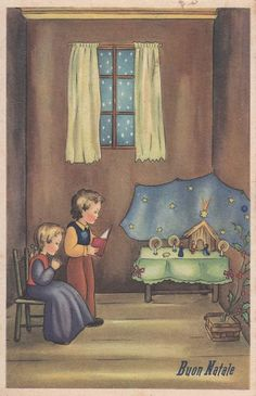 Children Pray with Crib Christmas Childrens Xmas PC about 1930 Italy Old Christmas, Christmas Nativity, Vintage Christmas Cards, Simple Christmas, Xmas, Precious Moments Figurines, Catholic Kids, Joy To The World, Christian Art
