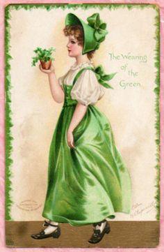 A/S ELLEN CLAPSADDLE PRETTY LADY St. Patrick's Day Shamrocks 1907 VINT. POSTCARD #StPatricksDay