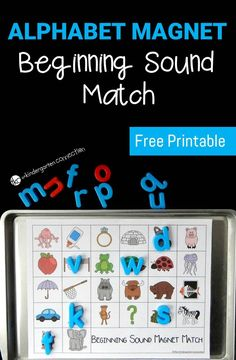 Beginning Sound Kindergarten Activity: Work on letters and sounds with this super fun alphabet magnet beginning sound match! Great for preschool and kindergarten students to pick a letter, say its sound and find the match! Kindergarten Centers, Preschool Literacy, Early Literacy, Kindergarten Reading, Literacy Centers, Beginning Sounds Kindergarten, Kindergarten Phonics, Learning Letters, Kids Learning