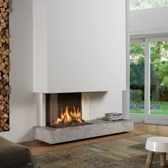 Premium Fire: nog nooit was een gasvuur zó mooi Vinyl Flooring Bathroom, Contemporary Fireplace Designs, Leather Living Room Set, Hardwood Floor Colors, Kitchen Room Design, Home Fireplace, Dream Apartment, Living Room Designs, New Homes