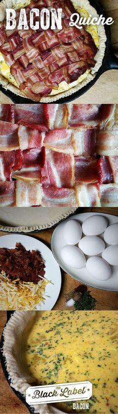 Bacon Quiche   Always add bacon to your quiche. Then add more bacon to your bacon quiche.   Best breakfast recipe.   Black Label® Bacon