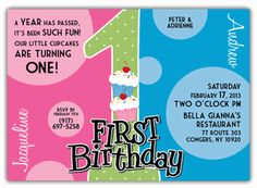 Twins first birthday party invitation cupcake twins first great divide girl boy twin first birthday invitation filmwisefo