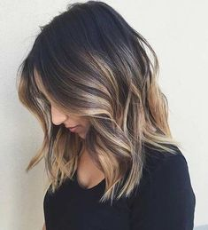 Lob Haircut with Caramel Highlights