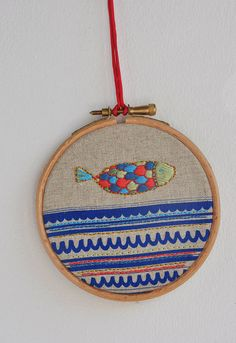 Drop Fish 6 embroidery art & screen print 4'' by fricdementol