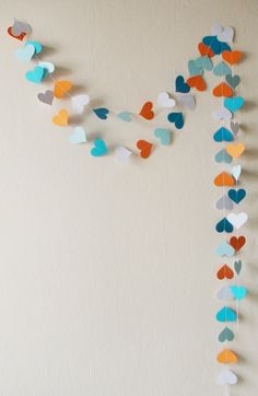 White Orange Blue paper heart garland 10 ft Blue by HelenKurtidu