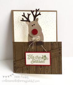 Reindeer Christmas or Thank You Card :: Confessions of a Stamping Addict Reindeer Christmas Card Oh, What Fun! Stamp Set Lorri Heiling Stampin' Up
