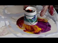 Sun set acrylic fluid pour - YouTube