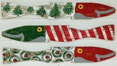 Coastal Christmas Wall Decor with Fence Fish in Red, Green and White.