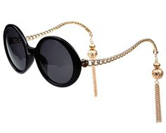 Trendy Pendant Tassels Metal Sunglasses Women Summer Round Retro Glasses from The Accessory Nook. Saved to I wear my Sunglasses. #rglasses #sunglassesaddiction #fashionaccessories.