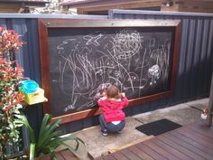 Backyard Chalkboard/Blackboard for the Grandbubbas. They just LOVE it!!