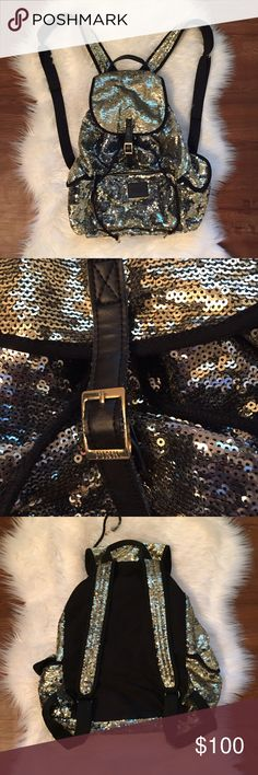 PINK sequin backpack Gold and silver sequins. In great condition. Never used as an everyday bag, just for day trips here and there. Has slight pilling on bottom of straps. Ⓜ️ PINK Victoria's Secret Bags Backpacks