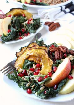 Fall Harvest Kale & Farro Salad w/ Roasted Acorn Squash, Apples ...