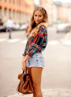 Colorful mix sleeve shirt and denim short fashion