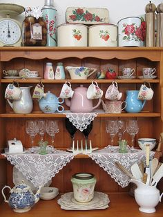 ♥Nothing sweeter then a full vintage kitchen cabinet!