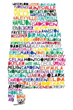 ALABAMA Digital Illustration of Alabama State with Cities. $15.00, via Etsy.