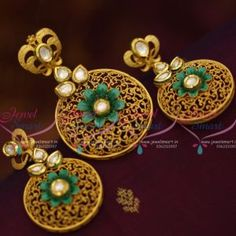 Mat Antique Gold Design Finish Pendant Earrings