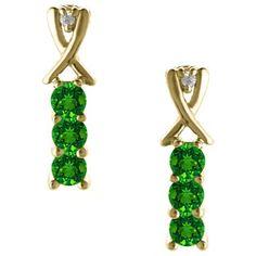 3 Stone Round Cut Emerald Gemstone Diamond Yellow Gold Earrings