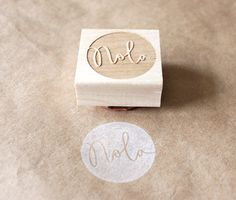 personalized round wooden rubber stamp - eatpraycreate-should do this stamp for company. :D
