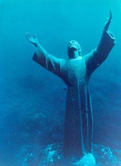 Christ of the Abyss - Italy  Il Cristo degli Abissi - in the Mediterranean sea  off San Fruttuoso