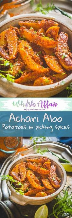 Achari Aloo is a potato dish made using pickling spices. The slightly tangy and spicy flavors make this dish very special. You can pair it with any Indian bread for a hearty meal. Here is a step by step and video recipe to make it. #Potatoes #Indian #Curry via @WhiskAffair