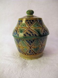 POLYCHROME Geometric Arabesque Lidded MOROCCAN Medicine Jar Probably SAFI