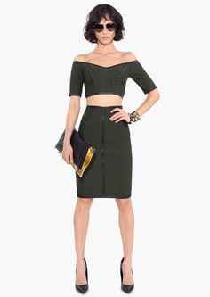 Still obsessed with crop tops and pecil skirts!