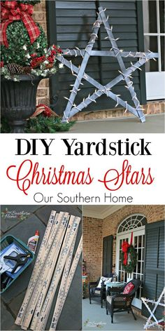 Simple DIY / Weathered yardstick stars by www.oursouthernho Simple DIY / Weathered yardstick stars by www. Outside Christmas Decorations, Diy Christmas Lights, Cheap Christmas, Christmas Porch, Rustic Christmas, Simple Christmas, Merry Christmas, Christmas Stars, Exterior Christmas Lights