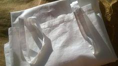 Antique Dress Plain White Cotton Slip French Handmade Medium Size