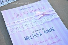 DIY Lingerie Bridal Shower Invitations. Super easy to make with a printable template and lace! Victoria's Secret inspired.