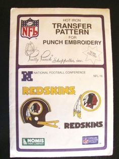 Vtg NFL Washington Redskins Transfer Pattern Embroidery $7.99